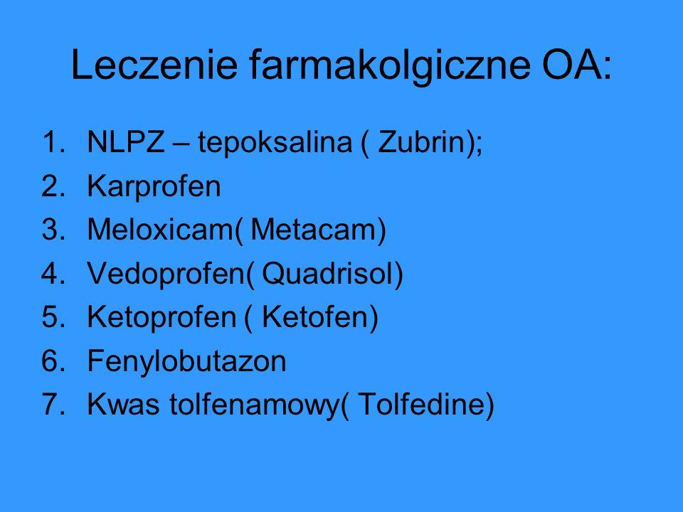 Leczenie farmakolgiczne OA: 1.NLPZ – tepoksalina ( Zubrin); 2.Karprofen 3.Meloxicam( Metacam) 4.Vedoprofen( Quadrisol) 5.Ketoprofen ( Ketofen) 6.Fenyl
