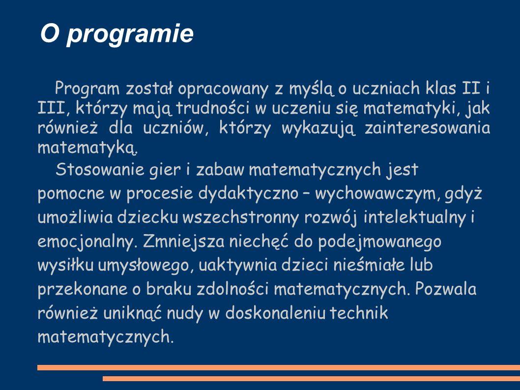 O programie Program został opracowany z myślą o uczniach klas II i III, którzy mają trudności w uczeniu się matematyki, jak również dla uczniów, którzy wykazują zainteresowania matematyką.