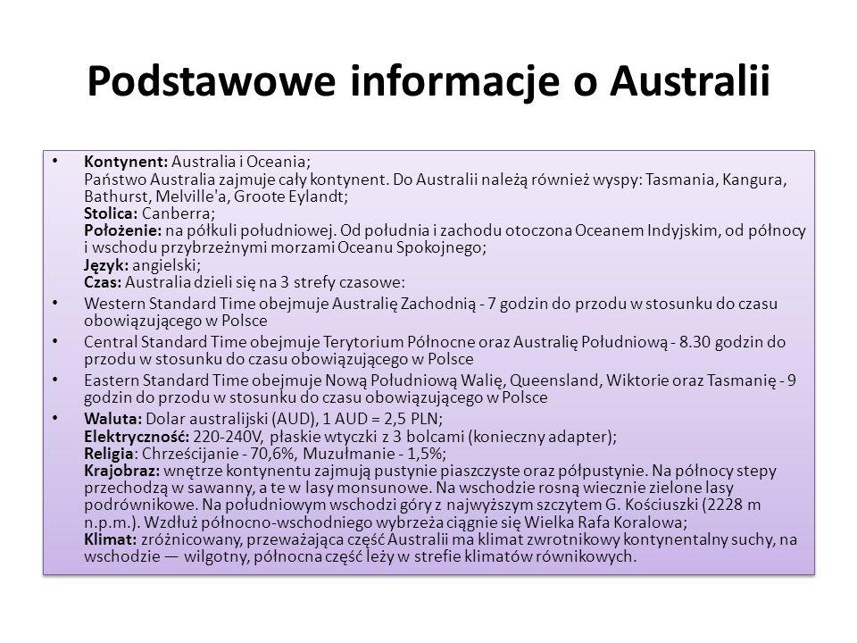 Podstawowe informacje o Australii Kontynent: Australia i Oceania; Państwo Australia zajmuje cały kontynent. Do Australii należą również wyspy: Tasmani