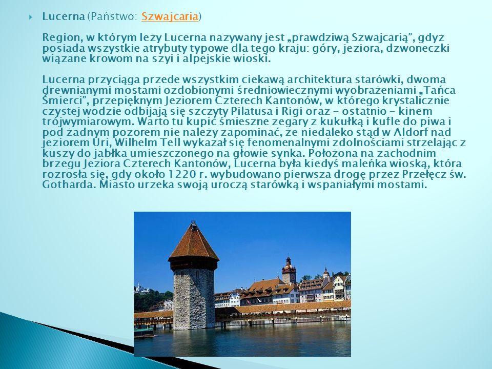 Zurych Największym miastem w Szwajcarii - lecz nie jej stolicą jest Zurych, położony nad Jeziorem Zuryskim.