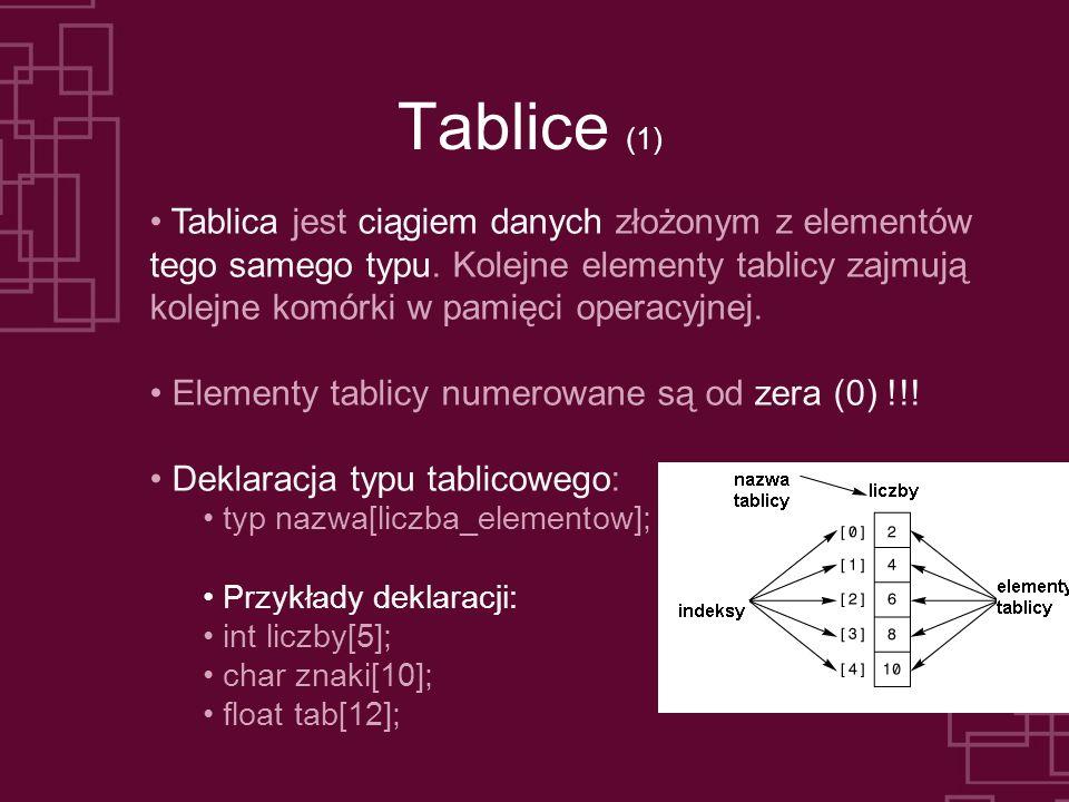 Tablice (1) Tablica jest ciągiem danych złożonym z elementów tego samego typu. Kolejne elementy tablicy zajmują kolejne komórki w pamięci operacyjnej.