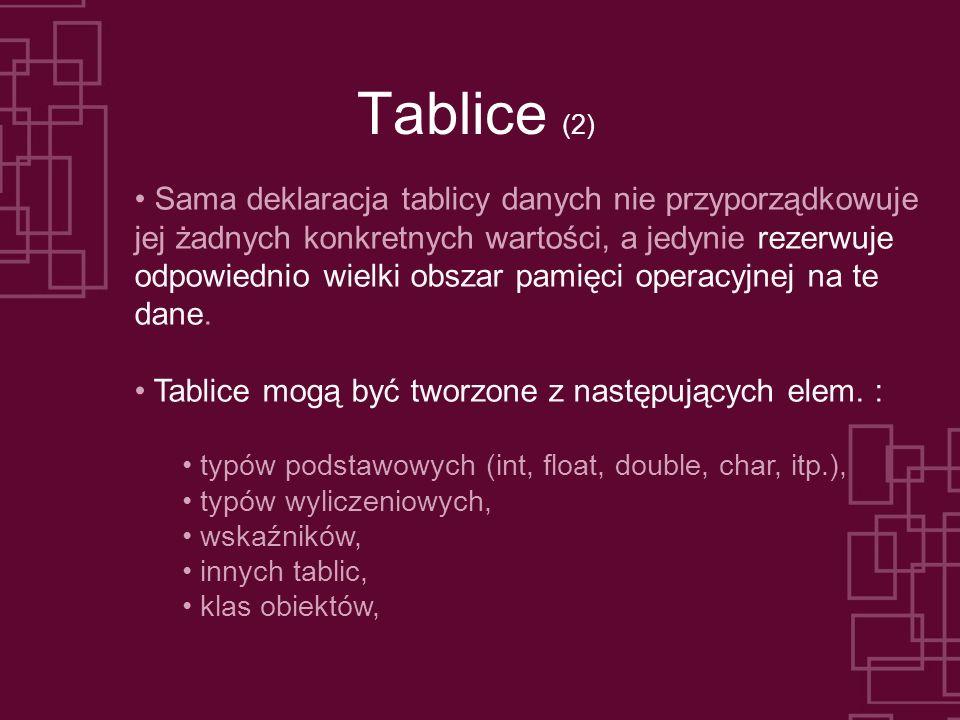 Tablice (2) Sama deklaracja tablicy danych nie przyporządkowuje jej żadnych konkretnych wartości, a jedynie rezerwuje odpowiednio wielki obszar pamięc