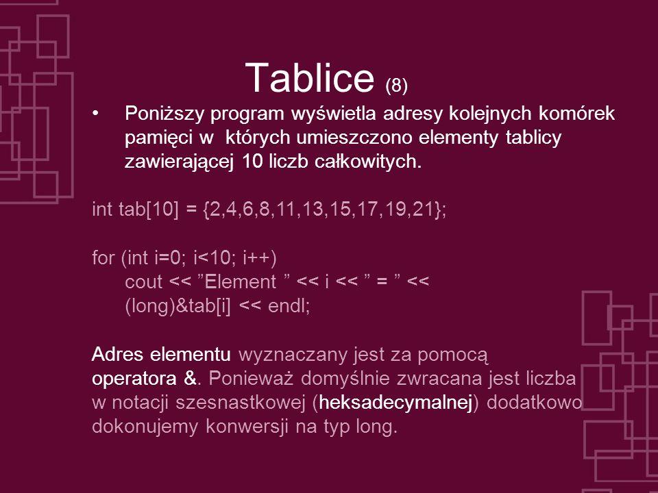 Tablice (8) Poniższy program wyświetla adresy kolejnych komórek pamięci w których umieszczono elementy tablicy zawierającej 10 liczb całkowitych. int