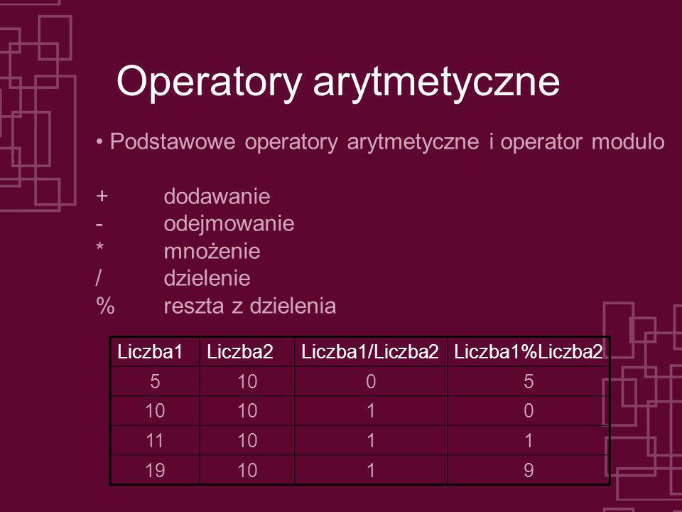 Operatory arytmetyczne Podstawowe operatory arytmetyczne i operator modulo + dodawanie - odejmowanie * mnożenie / dzielenie % reszta z dzielenia Liczb