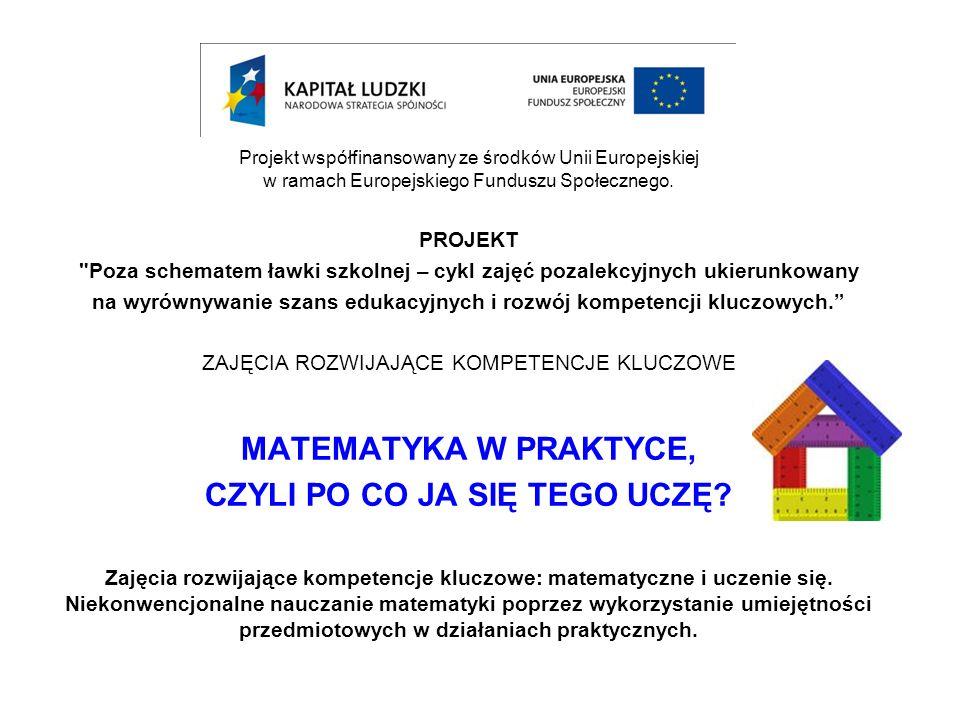 Projekt współfinansowany ze środków Unii Europejskiej w ramach Europejskiego Funduszu Społecznego. PROJEKT