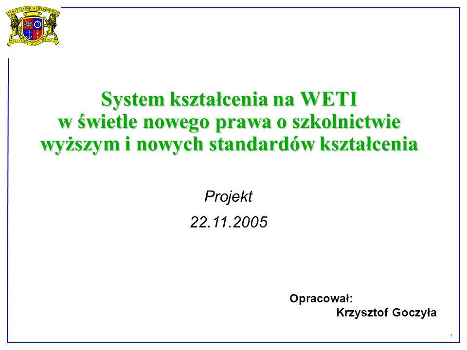 1 System kształcenia na WETI w świetle nowego prawa o szkolnictwie wyższym i nowych standardów kształcenia Projekt 22.11.2005 Opracował: Krzysztof Goczyła
