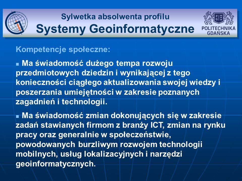 Przedmioty na profilu Systemy geoinformatyczne Systemy nawigacji satelitarnej GPS i Galileo Systemy nawigacji satelitarnej GPS i Galileo Systemy nawigacji i ich rodzajeSystemy nawigacji i ich rodzaje Budowa i działanie satelitarnych systemów lokalizacji i nawigacjiBudowa i działanie satelitarnych systemów lokalizacji i nawigacji Usługi i zastosowania satelitarnych systemów nawigacjiUsługi i zastosowania satelitarnych systemów nawigacji Wykorzystanie systemów nawigacji w urządzeniach przenośnych i systemach geoinformatycznychWykorzystanie systemów nawigacji w urządzeniach przenośnych i systemach geoinformatycznych Podstawy kartografii cyfrowej Podstawy kartografii cyfrowej Modele Ziemi i odwzorowania kartograficzneModele Ziemi i odwzorowania kartograficzne Elektroniczne mapy rastrowe i wektorowe, formaty danychElektroniczne mapy rastrowe i wektorowe, formaty danych Proces produkcji map cyfrowych,mapy nawigacyjneProces produkcji map cyfrowych,mapy nawigacyjne GlobalMapper, GeoServer, TatukGISGlobalMapper, GeoServer, TatukGIS