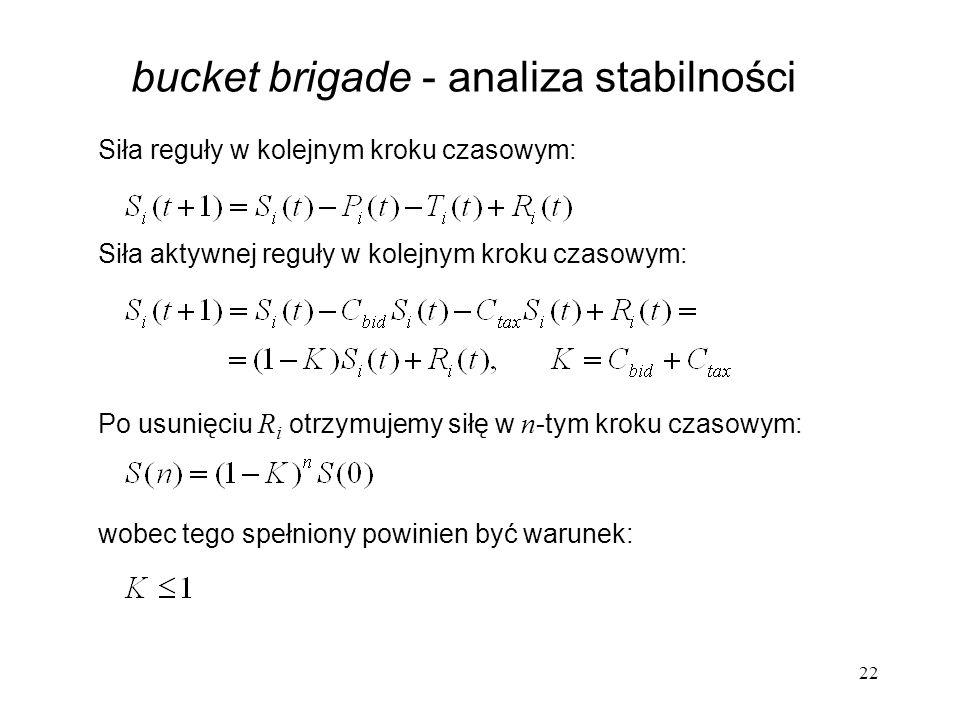 22 bucket brigade - analiza stabilności Siła aktywnej reguły w kolejnym kroku czasowym: Po usunięciu R i otrzymujemy siłę w n -tym kroku czasowym: wob