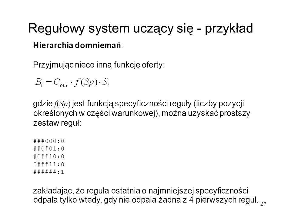 27 Hierarchia domniemań: Przyjmując nieco inną funkcję oferty: gdzie f(Sp) jest funkcją specyficzności reguły (liczby pozycji określonych w części war