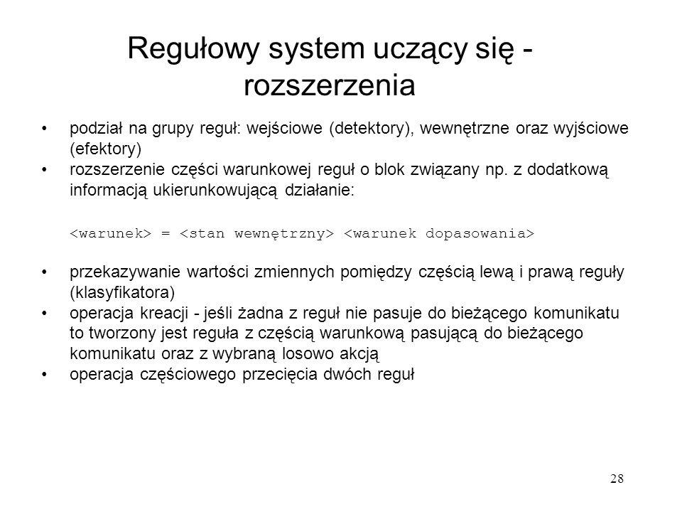 28 podział na grupy reguł: wejściowe (detektory), wewnętrzne oraz wyjściowe (efektory) rozszerzenie części warunkowej reguł o blok związany np. z doda