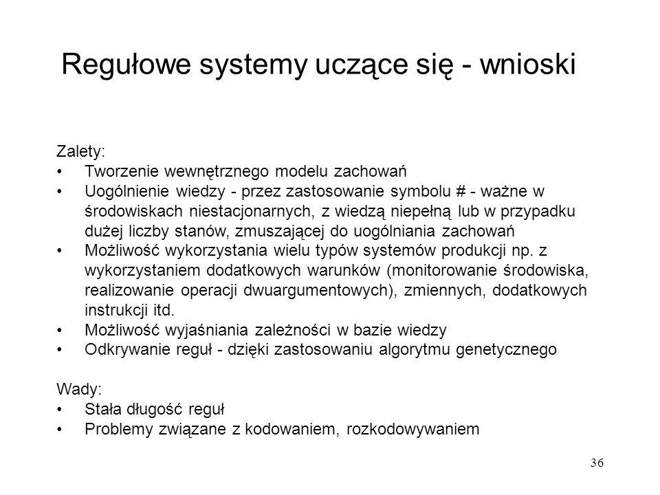 36 Regułowe systemy uczące się - wnioski Zalety: Tworzenie wewnętrznego modelu zachowań Uogólnienie wiedzy - przez zastosowanie symbolu # - ważne w śr
