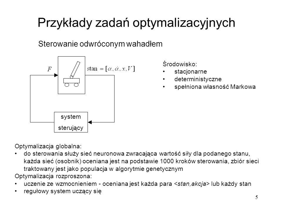 6 Przykłady zadań optymalizacyjnych Gry planszowe Środowisko: spełniona własność Markowa stacjonarne i deterministyczne – przy ustalonym algorytmie gry przeciwnika niestacjonarne i niedeterministyczne – gdy przeciwnikiem jest system uczący się lub człowiek