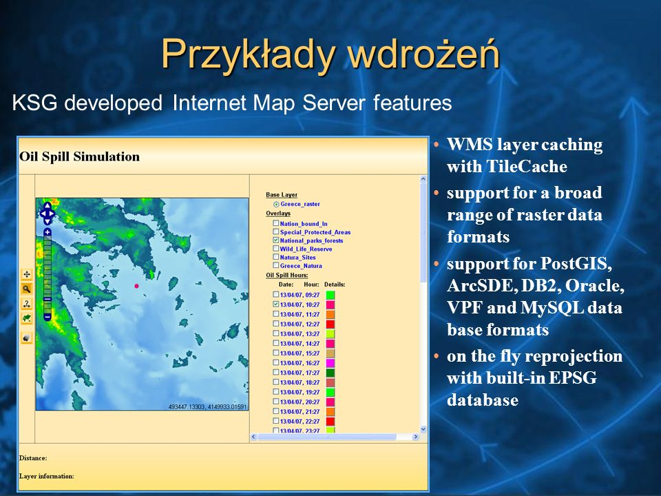 WMS layer caching with TileCache support for a broad range of raster data formats support for PostGIS, ArcSDE, DB2, Oracle, VPF and MySQL data base formats on the fly reprojection with built-in EPSG database KSG developed Internet Map Server features Przykłady wdrożeń
