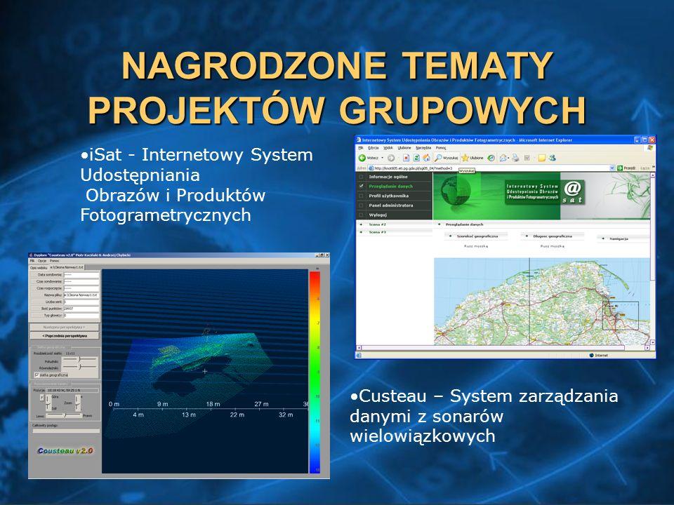 NAGRODZONE TEMATY PROJEKTÓW GRUPOWYCH iSat - Internetowy System Udostępniania Obrazów i Produktów Fotogrametrycznych Custeau – System zarządzania danymi z sonarów wielowiązkowych