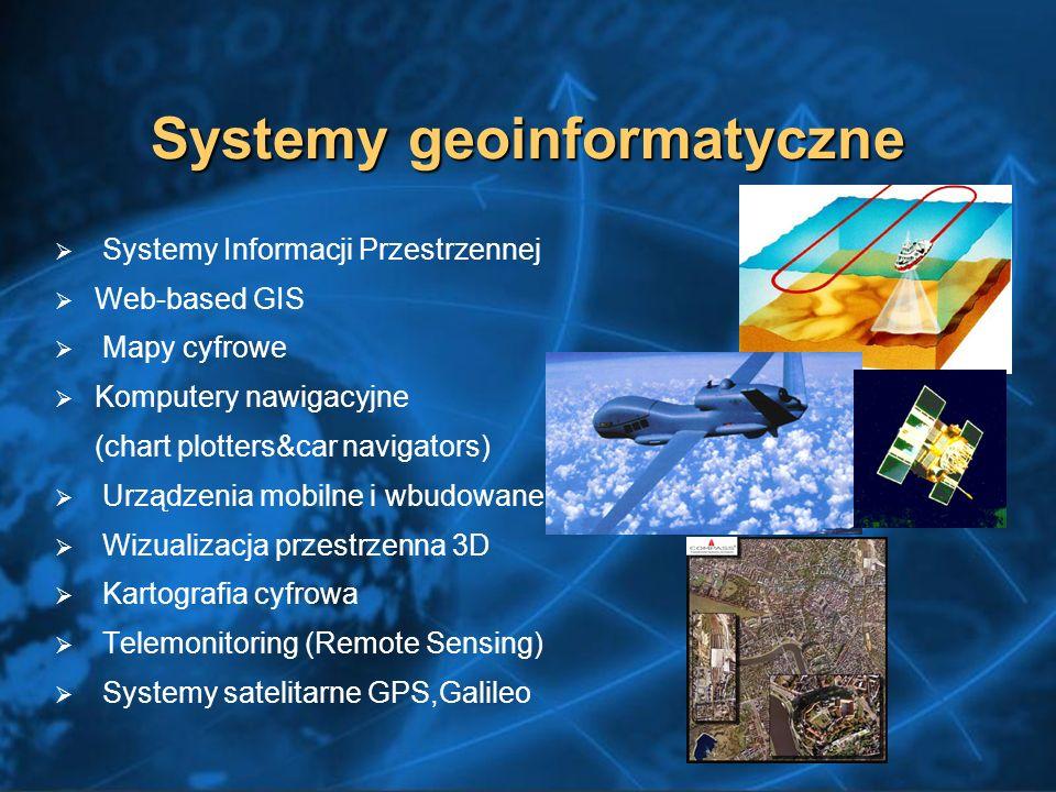 Systemy geoinformatyczne Systemy Informacji Przestrzennej Web-based GIS Mapy cyfrowe Komputery nawigacyjne (chart plotters&car navigators) Urządzenia mobilne i wbudowane Wizualizacja przestrzenna 3D Kartografia cyfrowa Telemonitoring (Remote Sensing) Systemy satelitarne GPS,Galileo