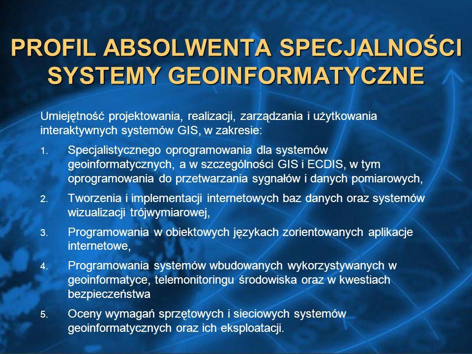 PROFIL ABSOLWENTA SPECJALNOŚCI SYSTEMY GEOINFORMATYCZNE Umiejętność projektowania, realizacji, zarządzania i użytkowania interaktywnych systemów GIS, w zakresie: 1.