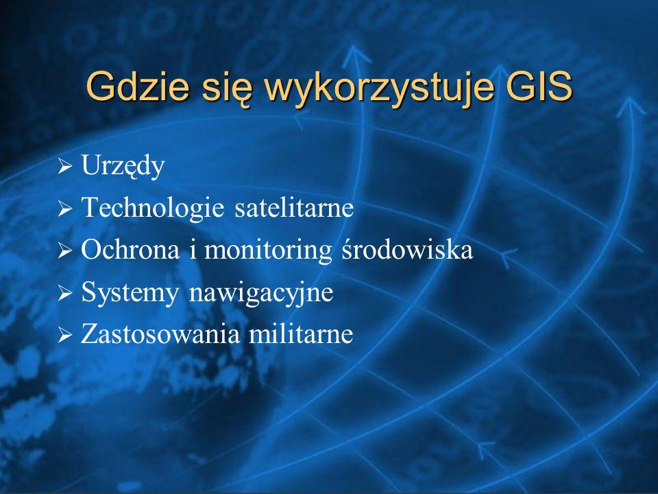 Gdzie się wykorzystuje GIS Urzędy Technologie satelitarne Ochrona i monitoring środowiska Systemy nawigacyjne Zastosowania militarne