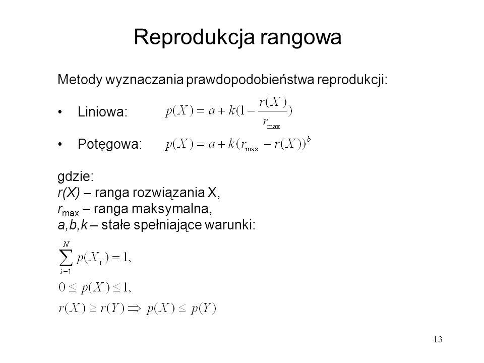13 Metody wyznaczania prawdopodobieństwa reprodukcji: Liniowa: Potęgowa: gdzie: r(X) – ranga rozwiązania X, r max – ranga maksymalna, a,b,k – stałe sp