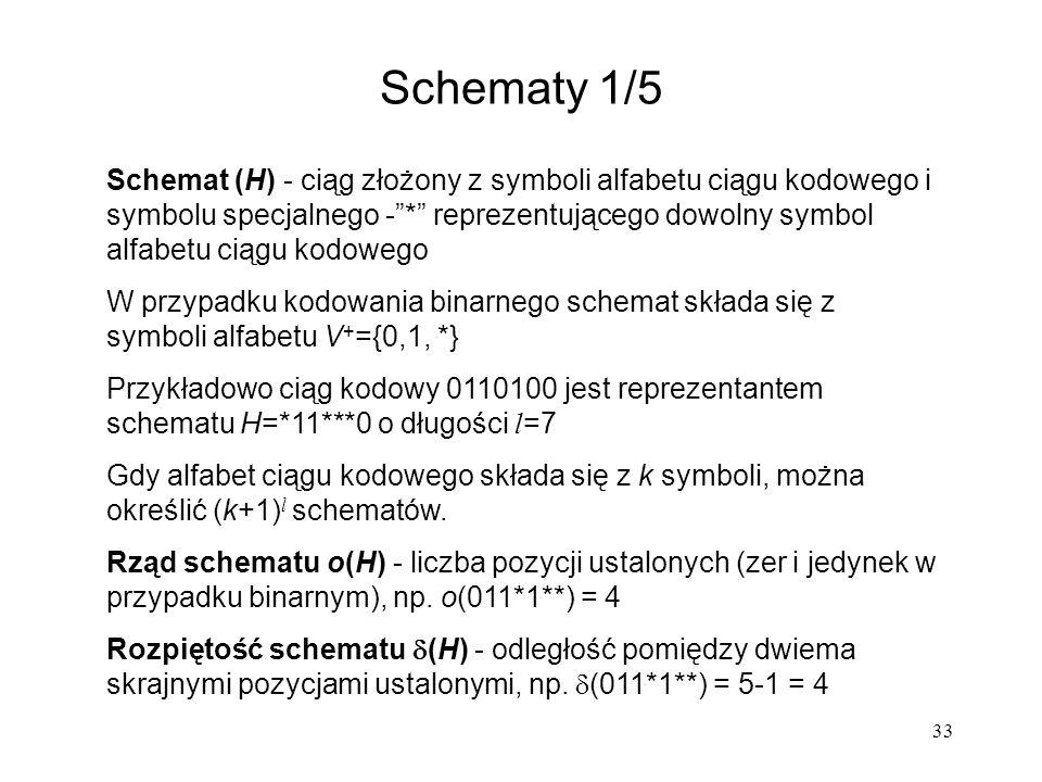 33 Schematy 1/5 Schemat (H) - ciąg złożony z symboli alfabetu ciągu kodowego i symbolu specjalnego -* reprezentującego dowolny symbol alfabetu ciągu k