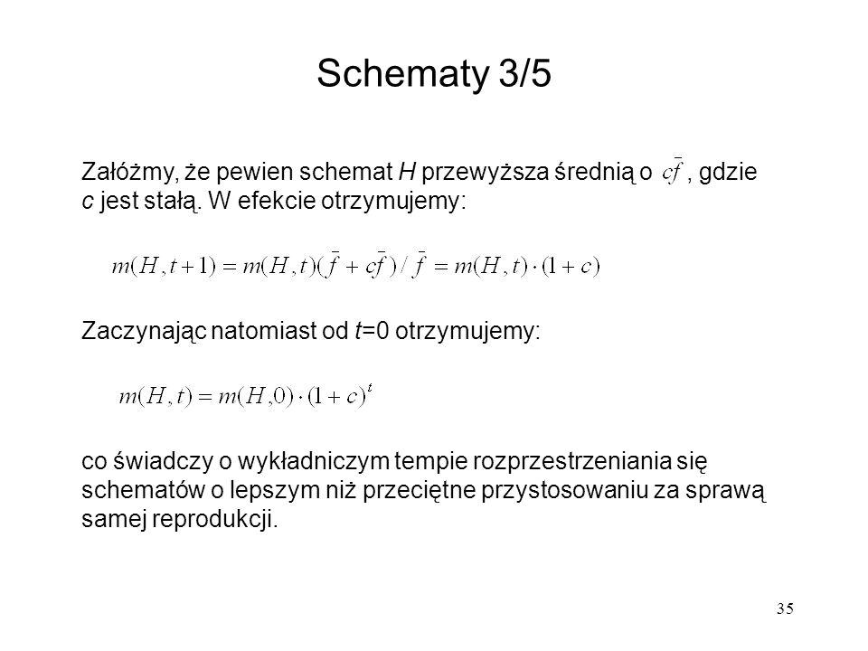 35 Załóżmy, że pewien schemat H przewyższa średnią o, gdzie c jest stałą. W efekcie otrzymujemy: Zaczynając natomiast od t=0 otrzymujemy: co świadczy