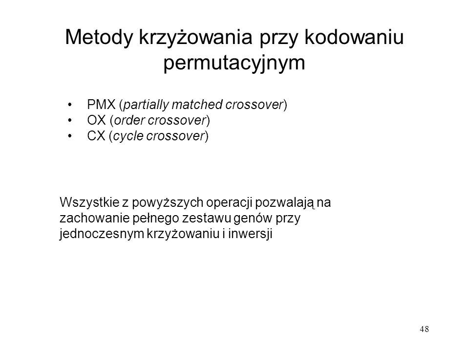 48 Metody krzyżowania przy kodowaniu permutacyjnym PMX (partially matched crossover) OX (order crossover) CX (cycle crossover) Wszystkie z powyższych