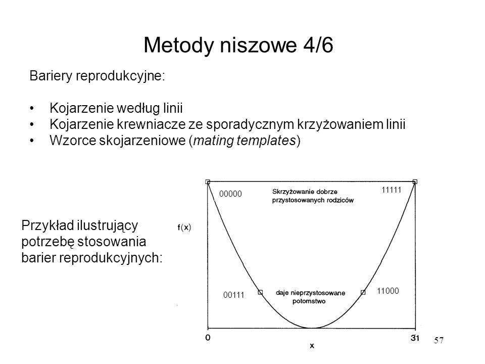 57 Metody niszowe 4/6 Przykład ilustrujący potrzebę stosowania barier reprodukcyjnych: 00000 11111 00111 11000 Bariery reprodukcyjne: Kojarzenie wedłu