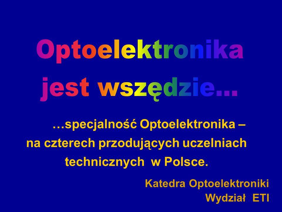 www.optoelektronika.eu Katedra Optoelektroniki opto@eti.pg.gda.pl 12 Możliwości pracy Technika światłowodowa Optoelektroniczna wizualizacja danych Podzespoły optoelektroniczne Czujniki optoelektroniczne Telekomunikacja światłowodowa