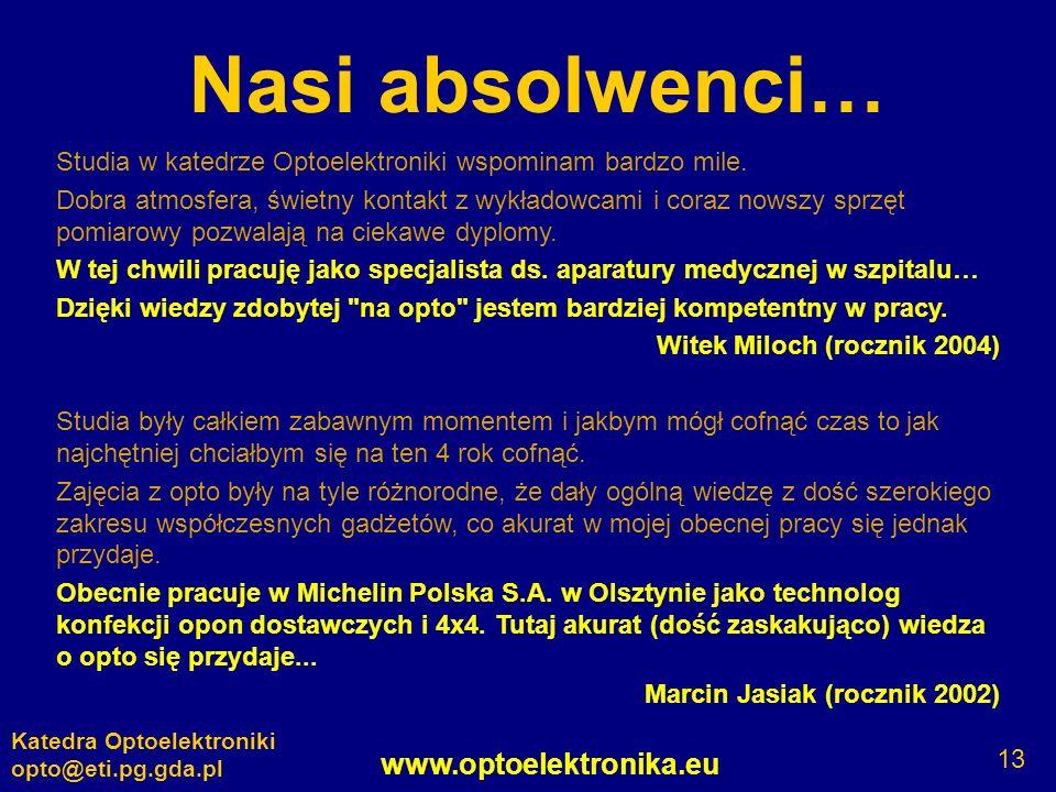 www.optoelektronika.eu Katedra Optoelektroniki opto@eti.pg.gda.pl 13 Nasi absolwenci… Studia w katedrze Optoelektroniki wspominam bardzo mile. Dobra a