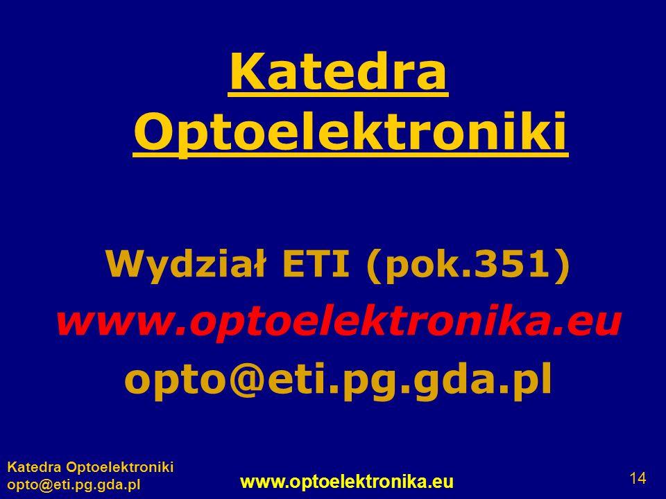 www.optoelektronika.eu Katedra Optoelektroniki opto@eti.pg.gda.pl 14 Katedra Optoelektroniki Wydział ETI (pok.351) www.optoelektronika.eu opto@eti.pg.