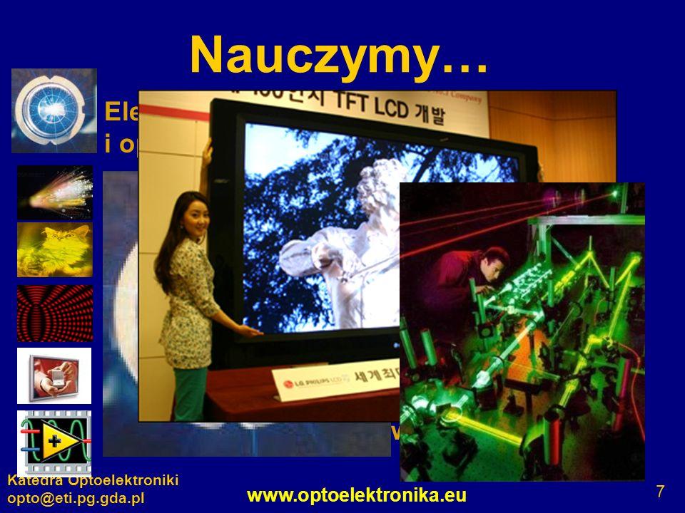 www.optoelektronika.eu Katedra Optoelektroniki opto@eti.pg.gda.pl 7 Nauczymy… Elementy, układy, systemy elektroniczne i optoelektroniczne Światłowody