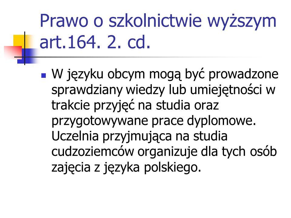 Prawo o szkolnictwie wyższym art.164.2. cd.