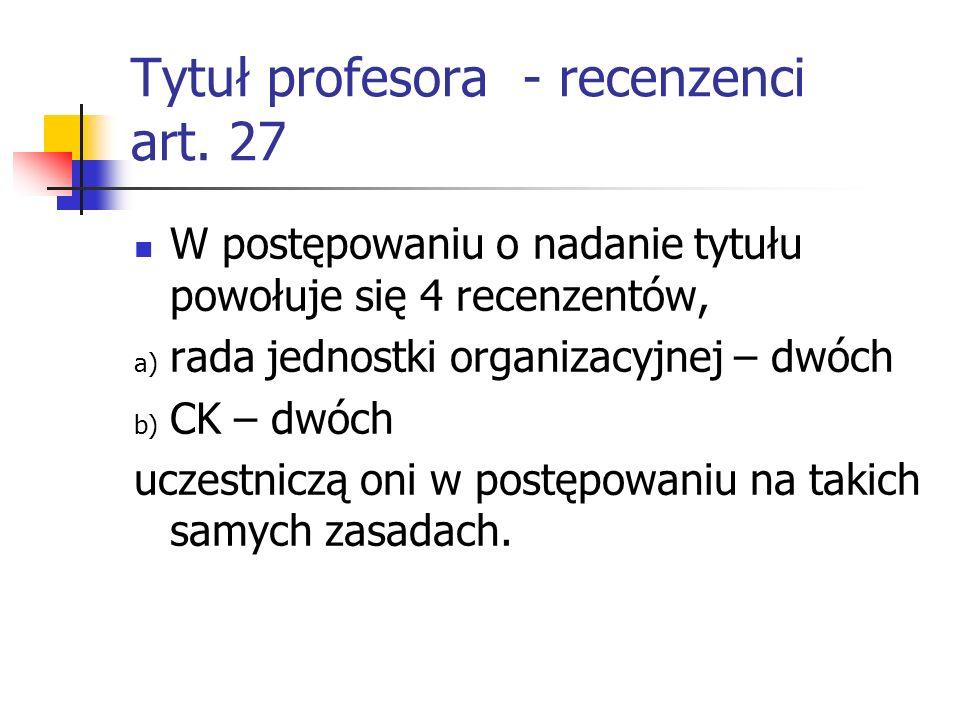 Tytuł profesora - recenzenci art.