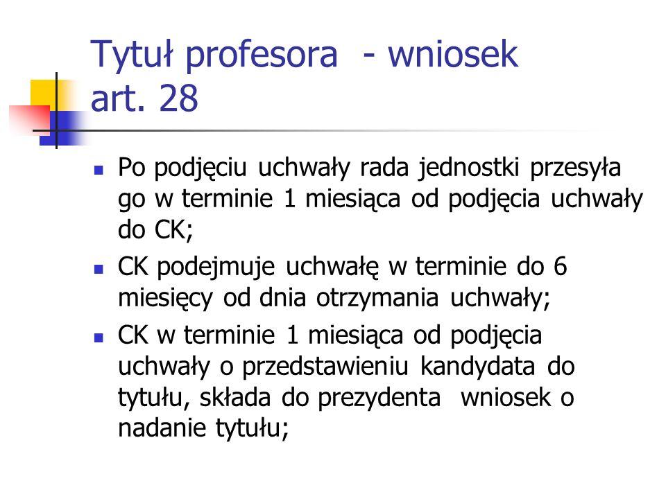 Tytuł profesora - wniosek art.