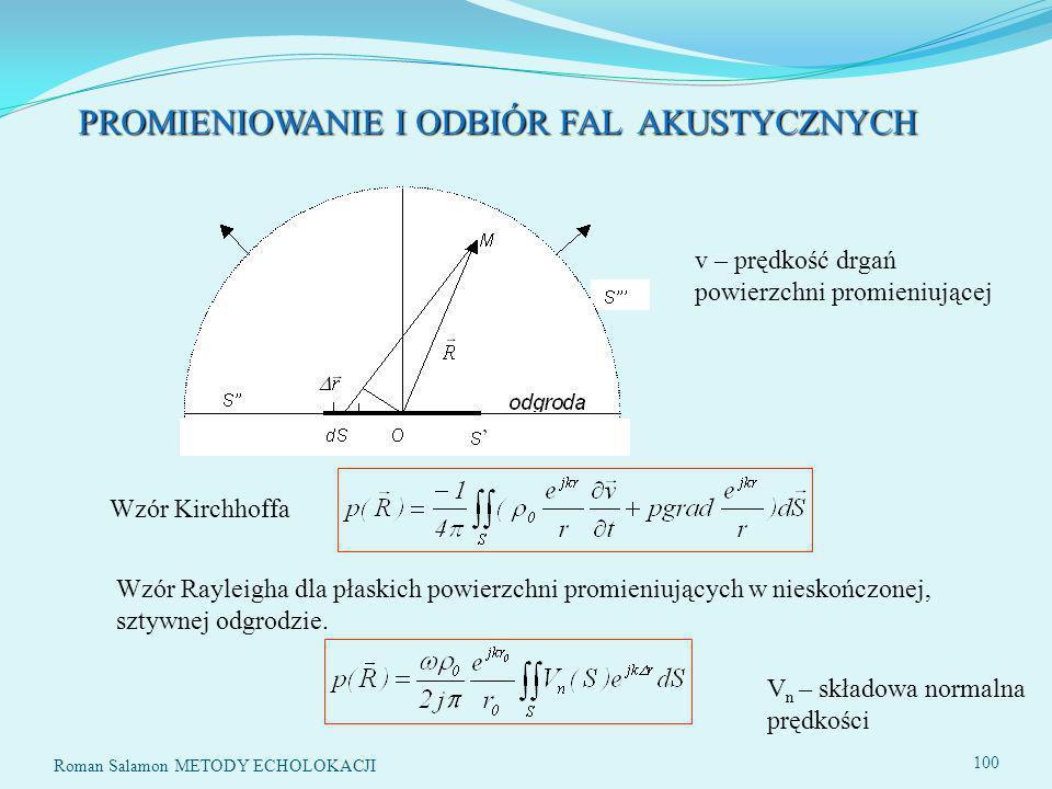 Roman Salamon METODY ECHOLOKACJI 100 PROMIENIOWANIE I ODBIÓR FAL AKUSTYCZNYCH Wzór Kirchhoffa Wzór Rayleigha dla płaskich powierzchni promieniujących w nieskończonej, sztywnej odgrodzie.