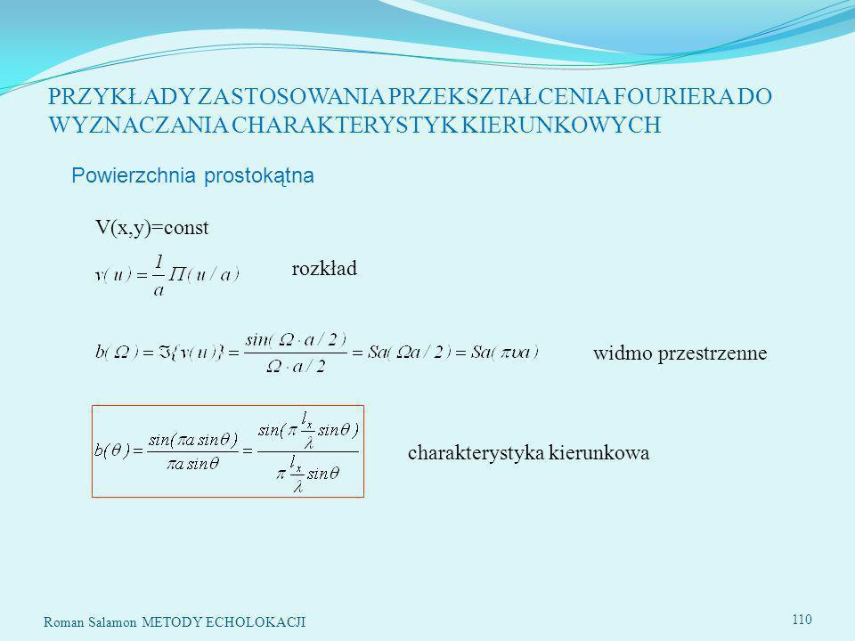Roman Salamon METODY ECHOLOKACJI 110 PRZYKŁADY ZASTOSOWANIA PRZEKSZTAŁCENIA FOURIERA DO WYZNACZANIA CHARAKTERYSTYK KIERUNKOWYCH Powierzchnia prostokątna V(x,y)=const rozkład widmo przestrzenne charakterystyka kierunkowa