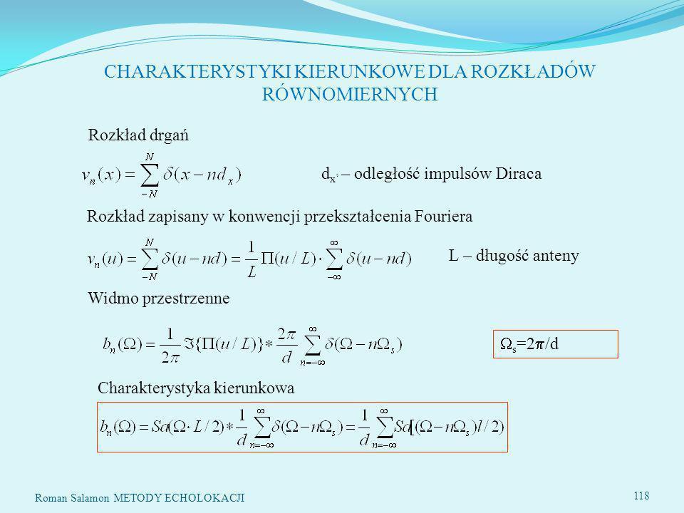 118 CHARAKTERYSTYKI KIERUNKOWE DLA ROZKŁADÓW RÓWNOMIERNYCH Rozkład drgań d x – odległość impulsów Diraca Rozkład zapisany w konwencji przekształcenia Fouriera Widmo przestrzenne s =2 /d L – długość anteny Charakterystyka kierunkowa