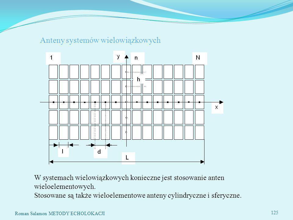 Roman Salamon METODY ECHOLOKACJI 125 Anteny systemów wielowiązkowych W systemach wielowiązkowych konieczne jest stosowanie anten wieloelementowych.