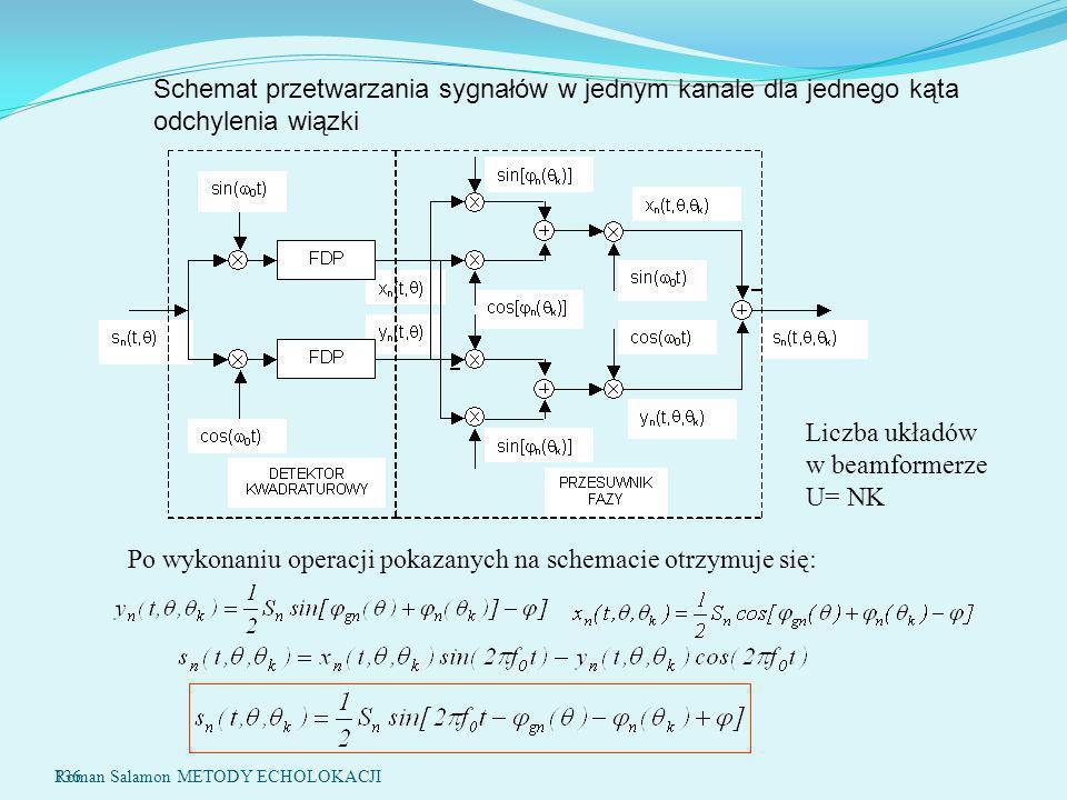 136 Po wykonaniu operacji pokazanych na schemacie otrzymuje się: Schemat przetwarzania sygnałów w jednym kanale dla jednego kąta odchylenia wiązki Liczba układów w beamformerze U= NK Roman Salamon METODY ECHOLOKACJI
