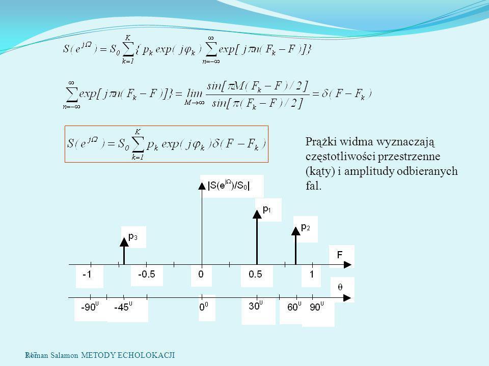 147 Prążki widma wyznaczają częstotliwości przestrzenne (kąty) i amplitudy odbieranych fal.