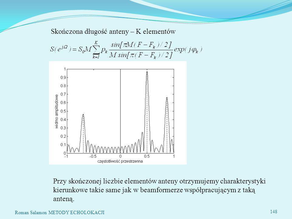 148 Skończona długość anteny – K elementów Przy skończonej liczbie elementów anteny otrzymujemy charakterystyki kierunkowe takie same jak w beamformerze współpracującym z taką anteną.