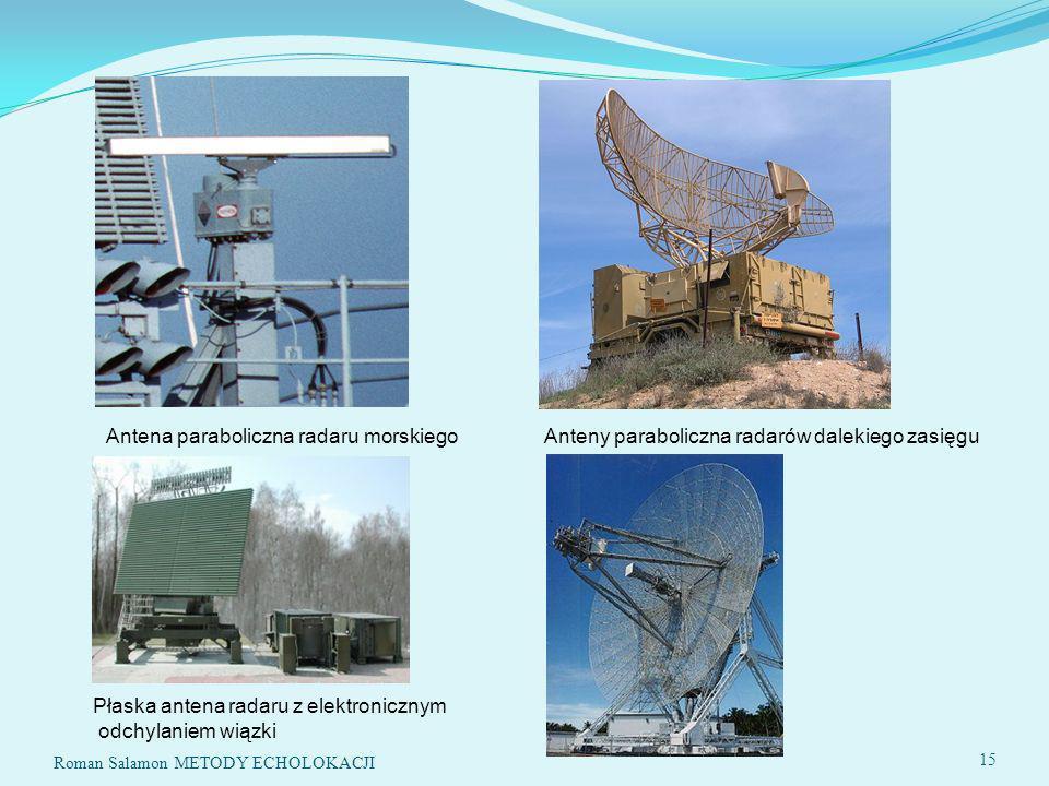 Roman Salamon METODY ECHOLOKACJI 15 Antena paraboliczna radaru morskiego Anteny paraboliczna radarów dalekiego zasięgu Płaska antena radaru z elektronicznym odchylaniem wiązki