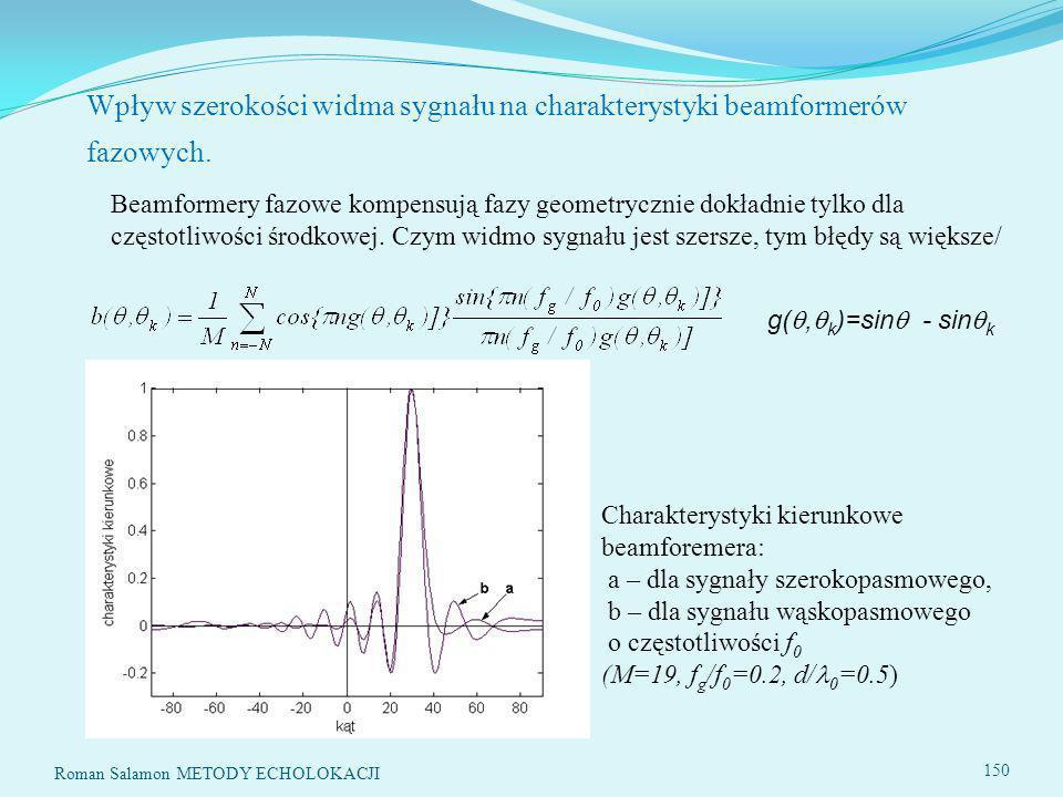 Roman Salamon METODY ECHOLOKACJI 150 Wpływ szerokości widma sygnału na charakterystyki beamformerów fazowych.