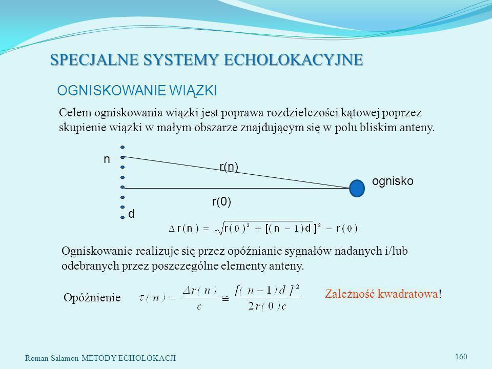 SPECJALNE SYSTEMY ECHOLOKACYJNE Roman Salamon METODY ECHOLOKACJI 160 r(0) r(n) n d Opóźnienie Zależność kwadratowa.