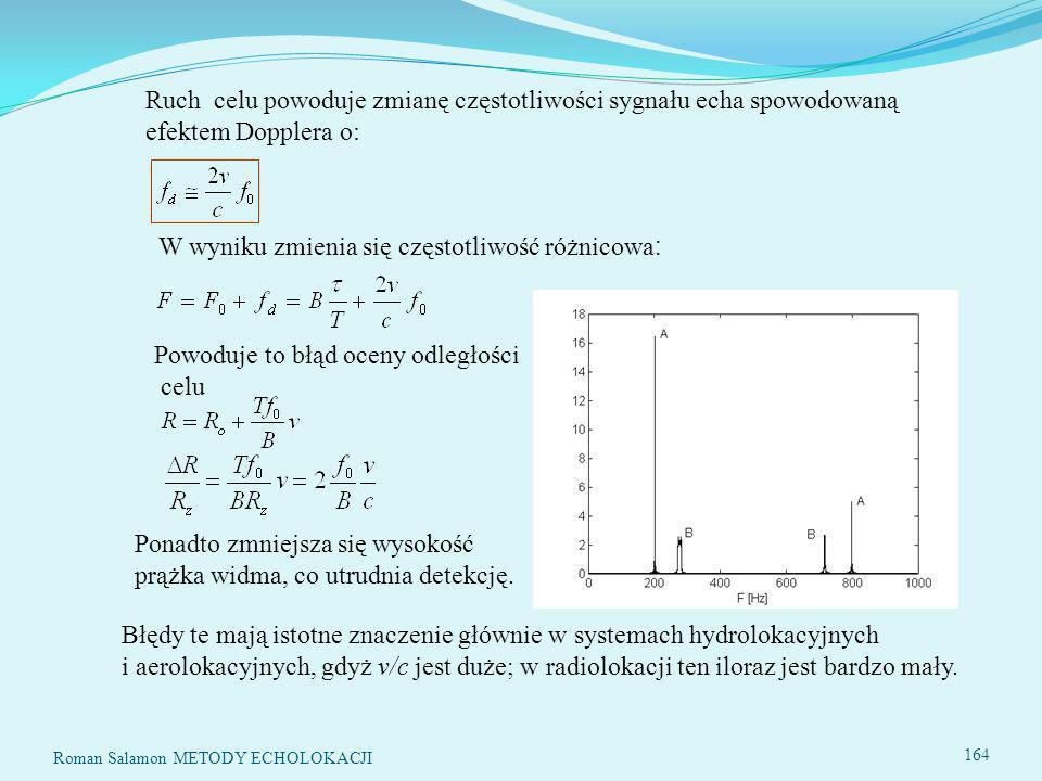 Ruch celu powoduje zmianę częstotliwości sygnału echa spowodowaną efektem Dopplera o: W wyniku zmienia się częstotliwość różnicowa : Powoduje to błąd oceny odległości celu Ponadto zmniejsza się wysokość prążka widma, co utrudnia detekcję.