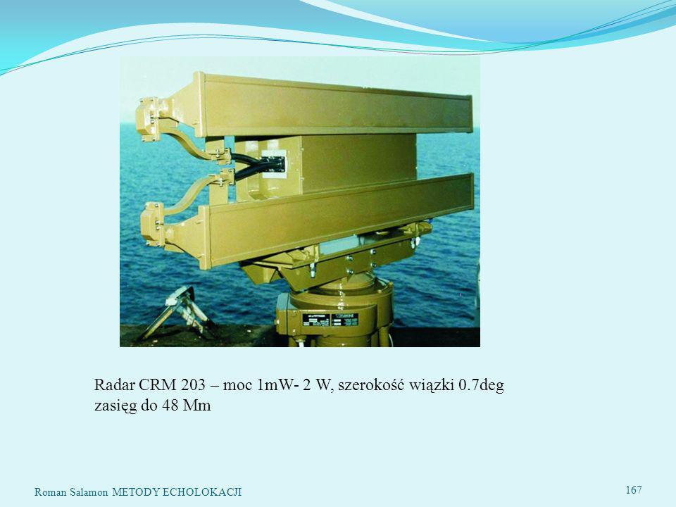 Radar CRM 203 – moc 1mW- 2 W, szerokość wiązki 0.7deg zasięg do 48 Mm 167 Roman Salamon METODY ECHOLOKACJI