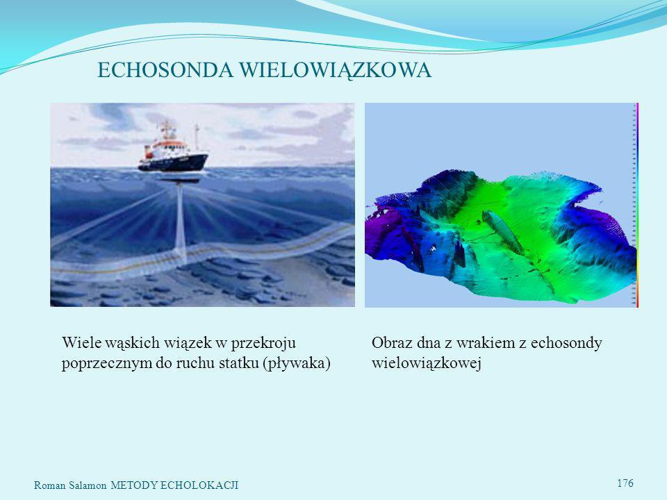 ECHOSONDA WIELOWIĄZKOWA Roman Salamon METODY ECHOLOKACJI 176 Wiele wąskich wiązek w przekroju poprzecznym do ruchu statku (pływaka) Obraz dna z wrakiem z echosondy wielowiązkowej
