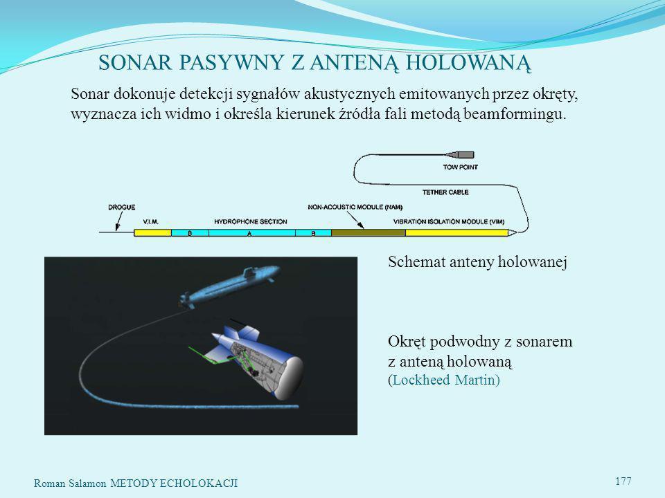 SONAR PASYWNY Z ANTENĄ HOLOWANĄ 177 Sonar dokonuje detekcji sygnałów akustycznych emitowanych przez okręty, wyznacza ich widmo i określa kierunek źródła fali metodą beamformingu.