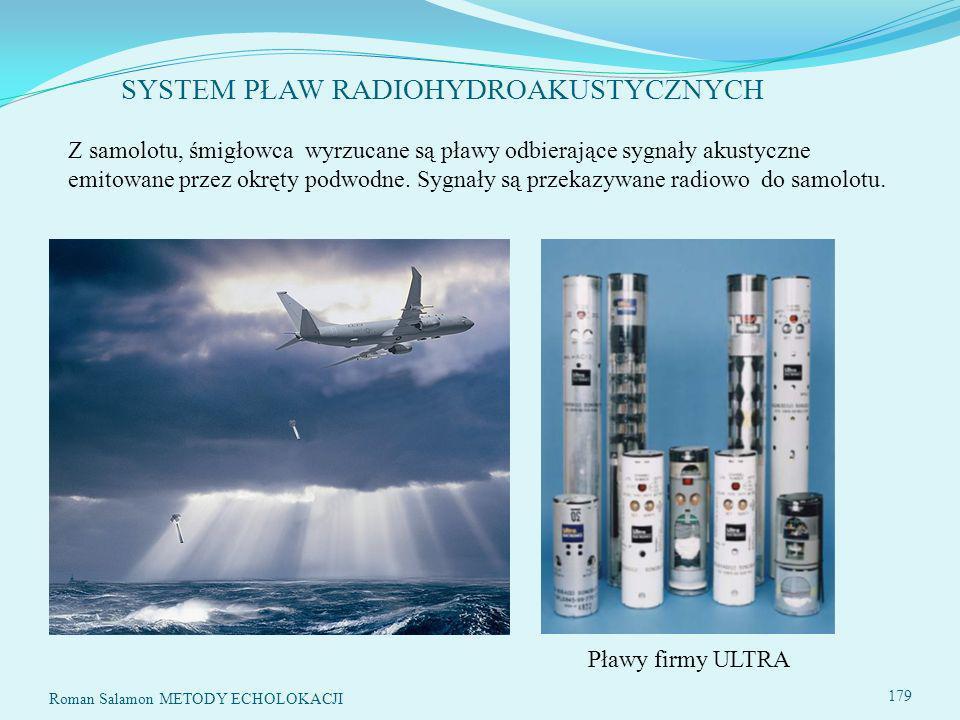 SYSTEM PŁAW RADIOHYDROAKUSTYCZNYCH Roman Salamon METODY ECHOLOKACJI 179 Z samolotu, śmigłowca wyrzucane są pławy odbierające sygnały akustyczne emitowane przez okręty podwodne.