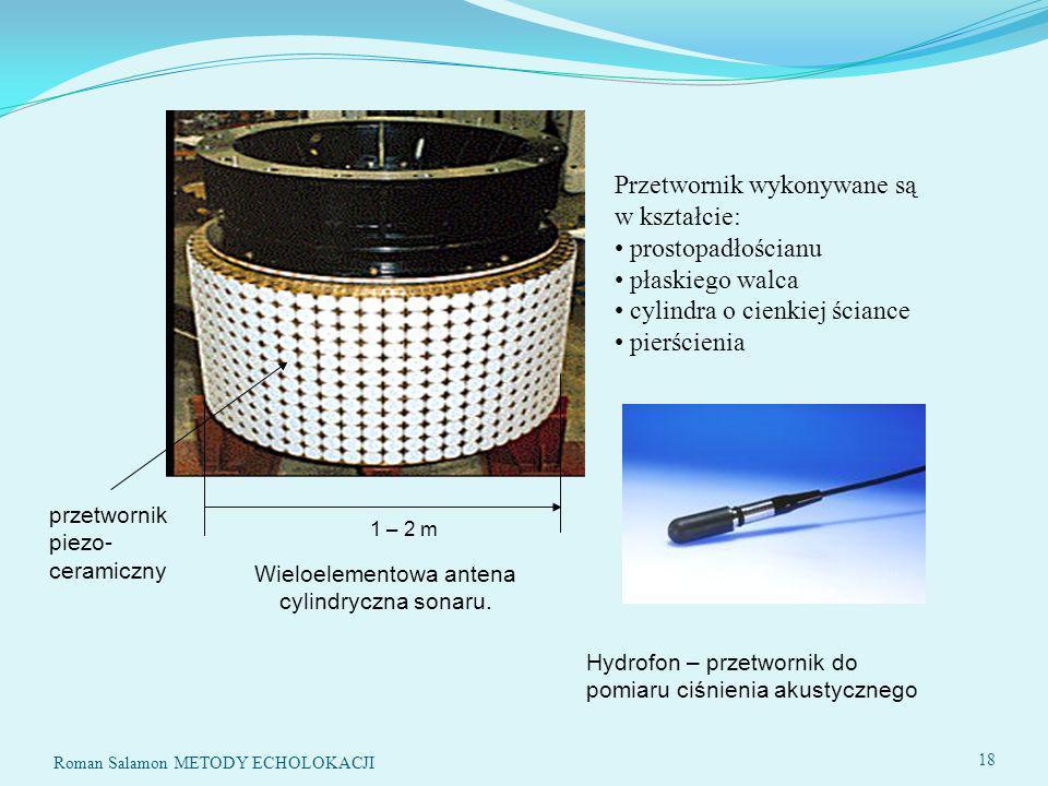 Wieloelementowa antena cylindryczna sonaru.