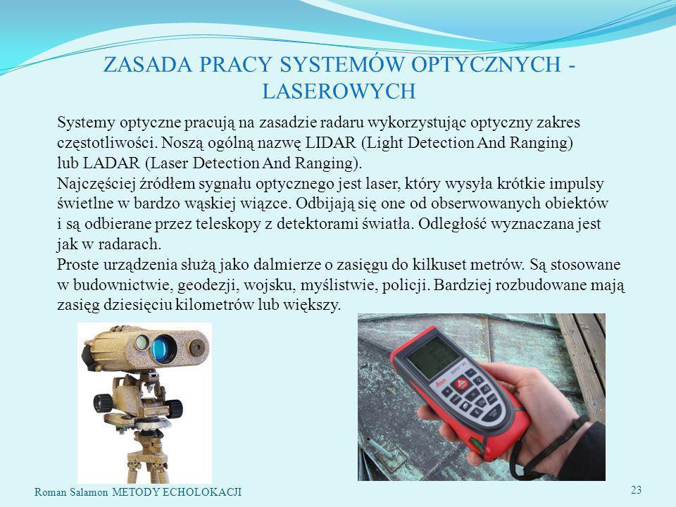 ZASADA PRACY SYSTEMÓW OPTYCZNYCH - LASEROWYCH Systemy optyczne pracują na zasadzie radaru wykorzystując optyczny zakres częstotliwości.